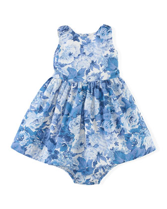 Sleeveless Floral Sateen Dress & Bloomers, Blue, Size 6-24 Months
