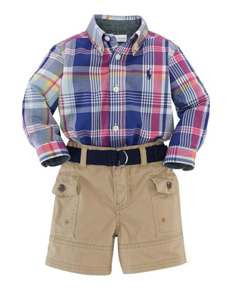 Madras Plaid Poplin Shirt, Belt & Cargo Shorts, Blue/Multicolor, Size 6-24 ...