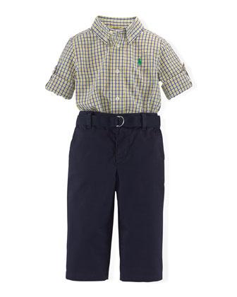 Tattersall Seersucker Shirt, Belt & Chino Pants, Yellow/Blue, Size 6-24 Months