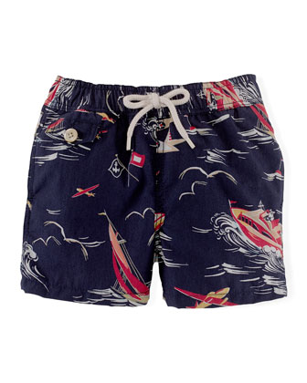 Traveler-Print Swim Trunks, Navy, Size 6-24 Months