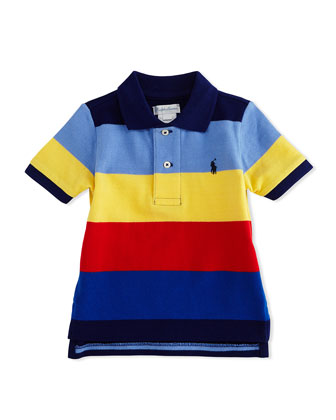 Short-Sleeve Striped Polo Shirt, Fall Royal/Multicolor, Size 9-24 Months