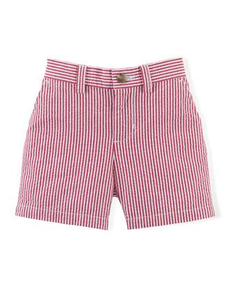 Striped Seersucker Preppy Shorts, Red, Size 9-24 Months