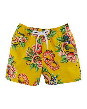 Tropical-Print Swim Trunks, Yellow, Size 6-24 Months