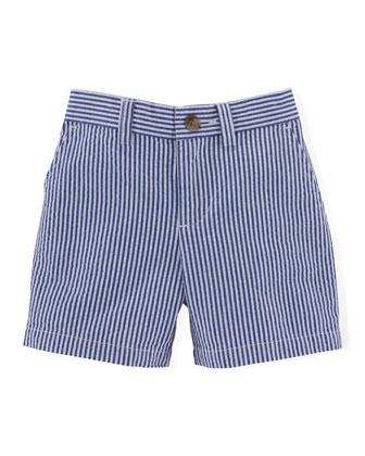 Striped Seersucker Preppy Shorts, Blue, Size 9-24 Months