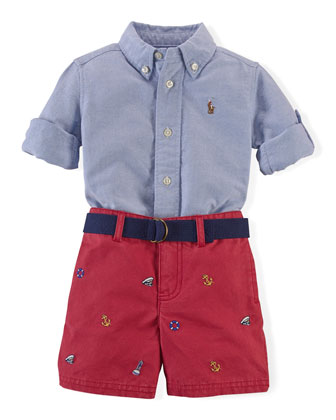 Long-Sleeve Oxford Shirt & Schiffli-Embroidered Shorts, Blue/Red, Size 6-24 ...