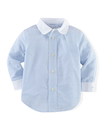 Striped Cotton Poplin Shirt, Blue/White, Size 9-24 Months