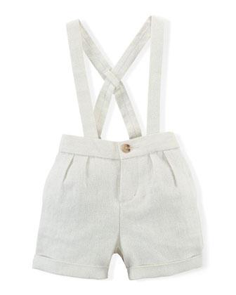 Linen-Blend Overalls, Cream, Size 9-24 Months