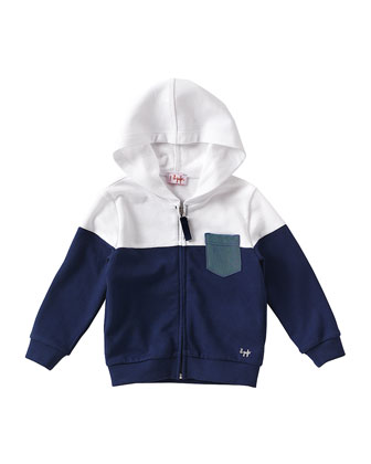Zip-Front Colorblock Hoodie, Blue/White, Size 3T-4T