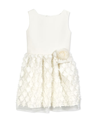 Sleeveless A-Line Party Dress, White, Size 10-14