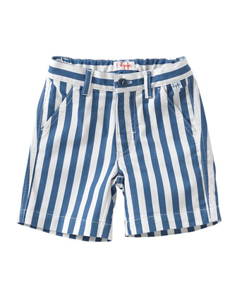 Striped Twill Shorts, Blue/White, Size 3T-4T