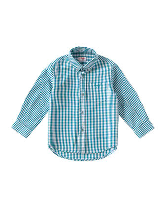 Gingham Poplin Shirt, Green/White, Size 3T-4T