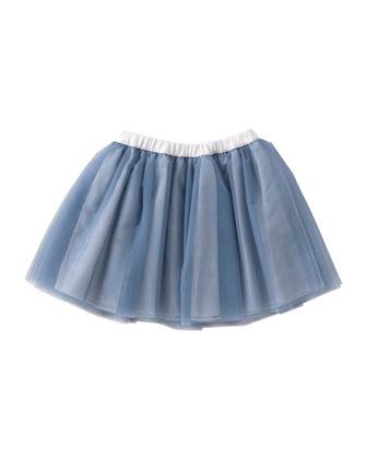 Smocked Tulle Skirt, Gray/Blue, Size 3T-4T