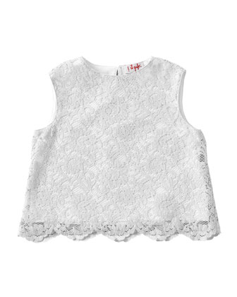 Scalloped Lace Tank, White, Size 3T-4T