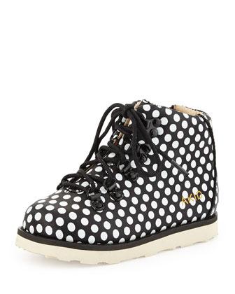 Polka-Dot Leather Bootie, Black/White
