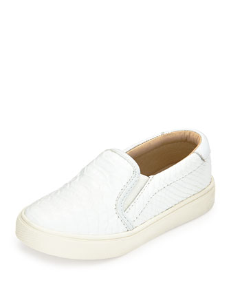 Liv Snake-Embossed Leather Slip-On Sneaker, White, Youth