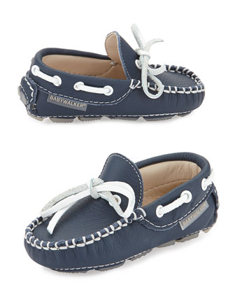 Leather Moccasin Driver, Navy, Toddler