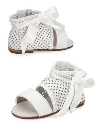 Perforated Leather Sandal w/ Bow Detail, White, Toddler