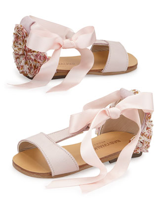 Rosette Tie Leather Sandal, Pink