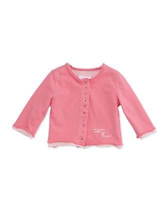 Rhinestone Double-Layer Cardigan, Pink, Size 2-18M