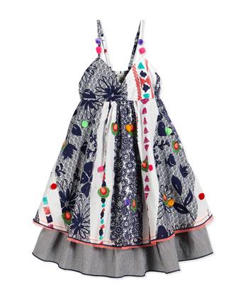 Embroidered Boho-Print Sundress, Blue, Size 2-10
