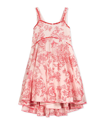 Sleeveless Floral-Print Toile Sundress, Pink, Size 2-10