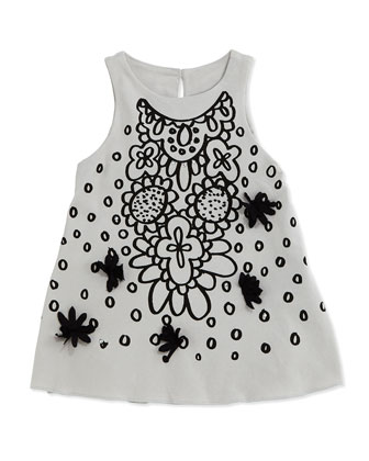 Floral and Circle-Print Tank Dress, Gray, Size 4-6