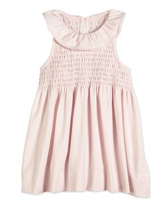 Sleeveless Smocked Jersey Dress, Light Pink, Size 8-12
