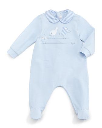 Three Birds Footie Pajamas, Blue, Size 1-6 Months