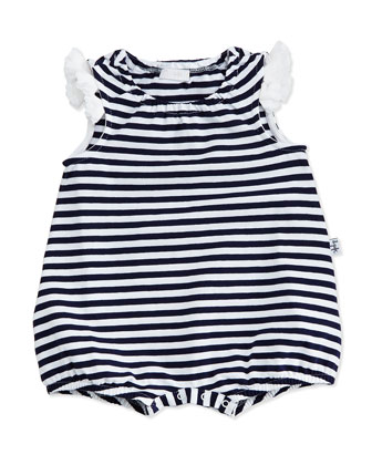 Striped Jersey Bubble Playsuit, Navy/White, Size 3-9 Months
