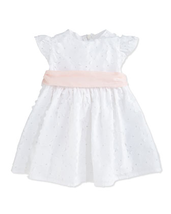 Floral Cut-Out A-Line Dress, White, Size 6-12 Months