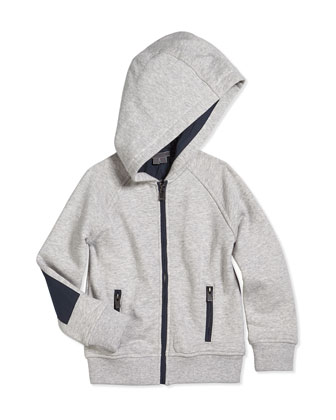 French Terry Zip-Front Hoodie, Marina Gray, Size 2-7