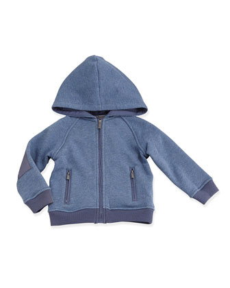 French Terry Long-Sleeve Hoodie, Bayou Blue, Size 6-24 Months