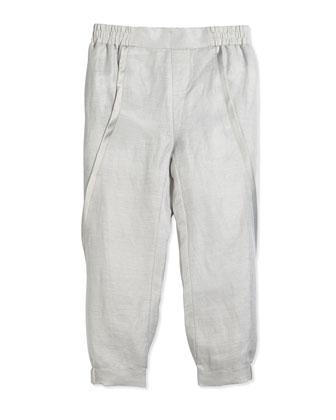 Asymmetric-Seam Linen Pants, Sierra Silver, Size 2-6