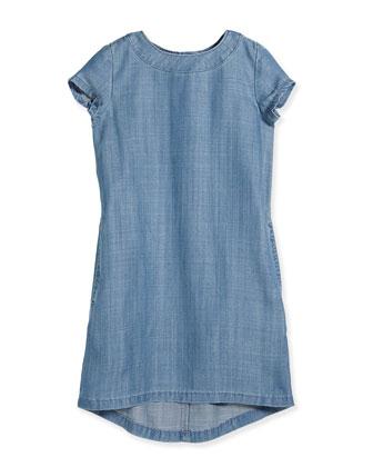Short-Sleeve Chambray Shift Dress, Light Indigo, Size 2-6