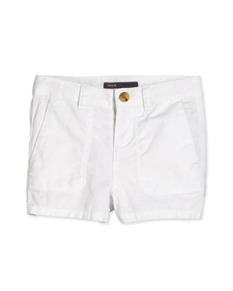 Patch Pocket Shorts, White, Size 2-6