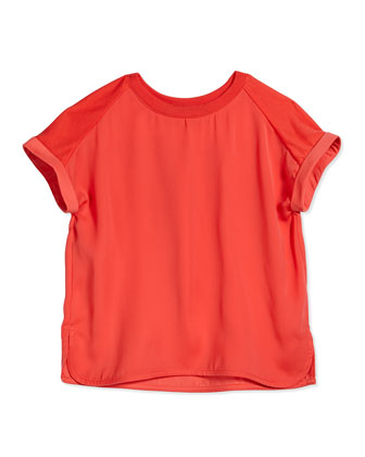 Rolled-Sleeve Raglan Blouse, Nectar, Size S-XL