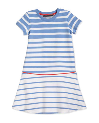Striped Flounce Dress, Blue/White/Orange, Size S-XL
