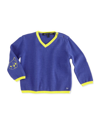 V-Neck Cotton Sweater, Cobalt, Size 2-6