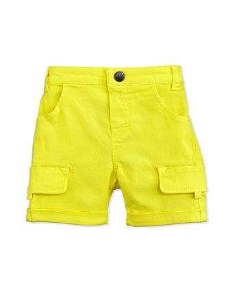 Rolled-Cuff Cargo Shorts, Yellow, Size 2-6
