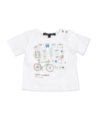 Short-Sleeve Summer-Print Tee, White, Size 2-6
