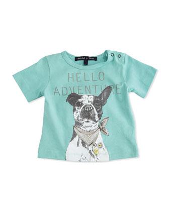 Hello Adventure Short-Sleeve Dog-Print Jersey Tee, Aqua, Size 2-6