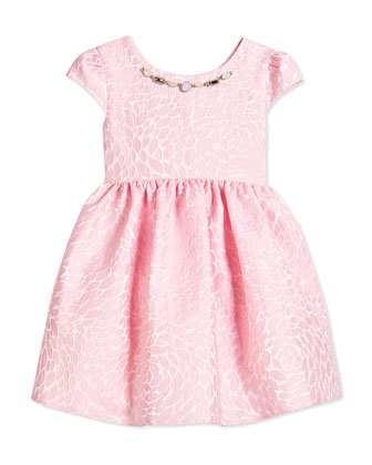 Satin Brocade Leaf Dress, Pink, Size 2-8