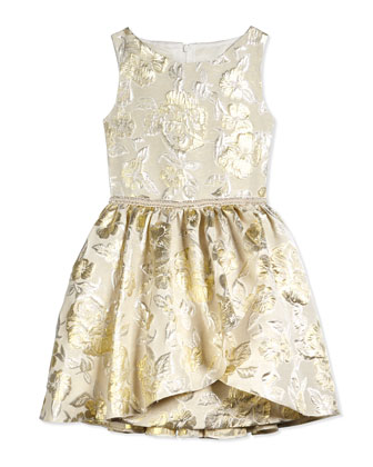 Linen Damask Floral Dress, Gold, Size 8-14