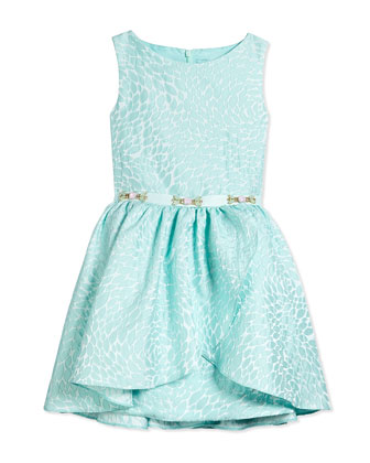 Sleeveless Satin Brocade Leaf Dress, Turquoise, Size 8-14