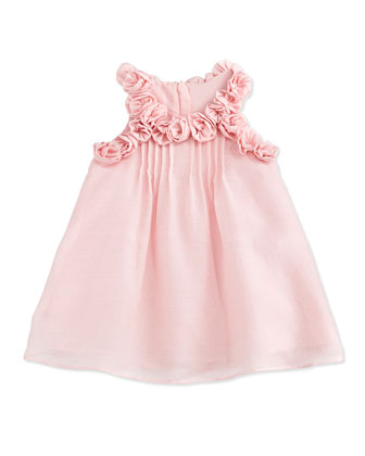 Sleeveless Pleated Shift Dress w/ Rosettes, Pink, Size 6-18 Months
