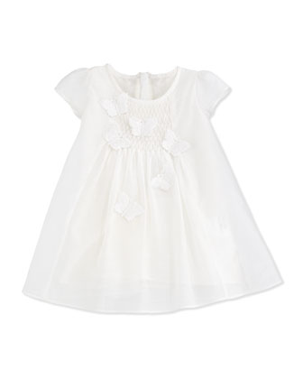 Cap-Sleeve Butterfly Voile Shift Dress, White, Size 6M-2