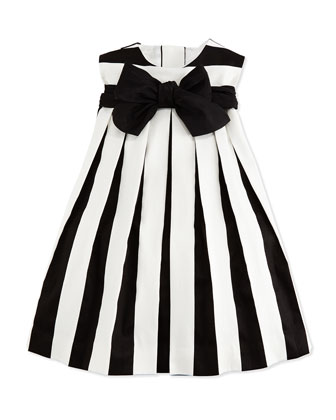 Sleeveless Striped Poplin Dress, Black/White, Size 2-6X