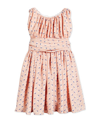 Floral Shirred Chiffon Dress, Pink