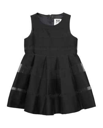 Striped Fil Coupe Dress, Black, Size 2-7