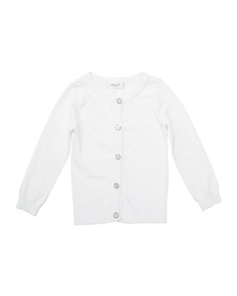Long-Sleeve Novelty-Button Cardigan, White, Size 2-7
